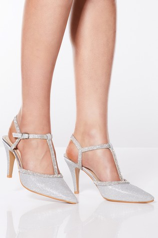 Quiz Shimmer Diamanté T-bar Mid Heel Pointed Toe Open Court Shoe