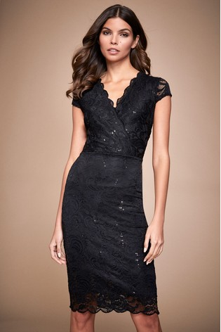 Lipsy Black Lace Sequin Wrap Bodycon Dress