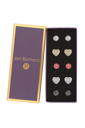 Jon Richard Pink Two Tone Plated Crystal Heart & Pave Ball Earrings Pack Of 5 - Gift Boxed