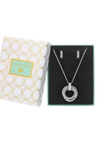 Jon Richard Silver Plated Crystal Russian Ring Set - Gift Boxed