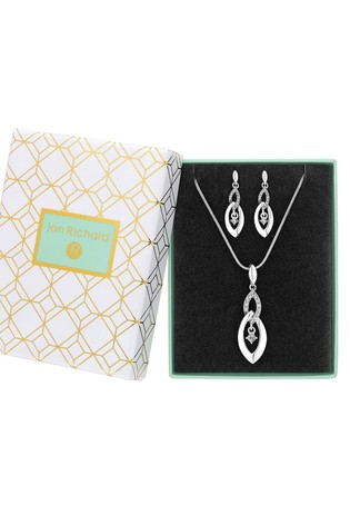 Jon Richard Silver Plated Crystal Infinity Drop Set - Gift Boxed