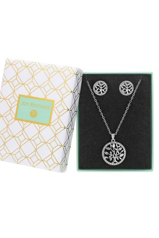 Jon Richard Silver Plated Crystal Tree Of Life Necklace & Earring Set - Gift Boxed