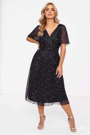 Scarlett & Jo Angel Sleeve Heart Print Midi Dress