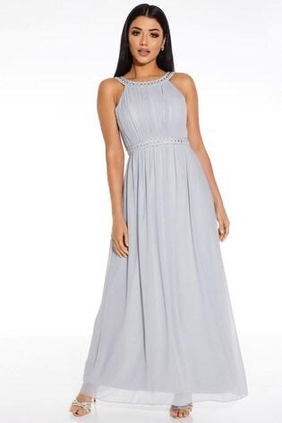 Quiz Grey Beaded High Neck Sleeveless Maxi Dress