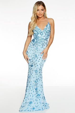 Quiz Blue Sequin Mesh Strappy Backless Fishtail Maxi Dress