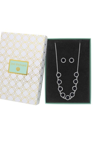Jon Richard Silver Plated Blue Crystal Clara Necklace & Gift Set - Gift Boxed