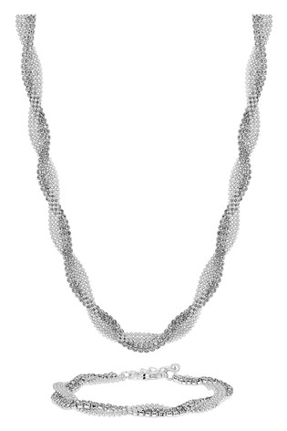 Jon Richard Silver Plated Crystal Diamante Twist Necklace And Bracelet Set - Gift Boxed