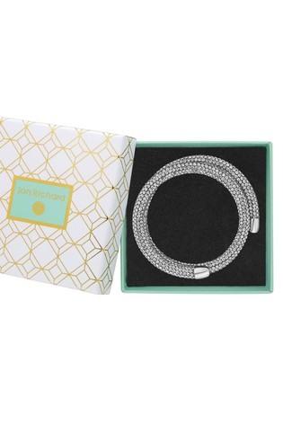 Jon Richard Silver Plated Crystal Sparkle Double Wrap Bangle - Gift Boxed