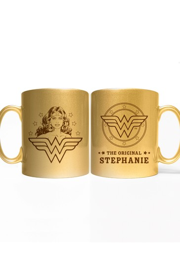 Personalised Wonder Woman Gold Mug By YooDoo