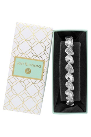 Jon Richard Silver Plated Crystal Pear Stretch Bracelet - Gift Boxed