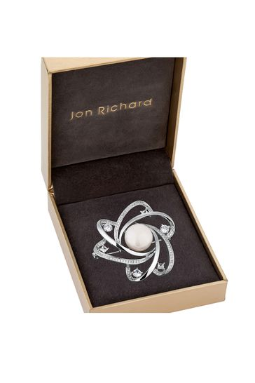 Jon Richard White Pearl Silver Plated Polished And Pearl Brooch - Gift Boxed