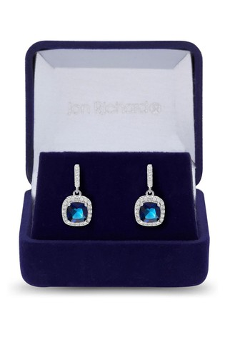 Jon Richard Blue Silver Plated Blue Cubic Zirconia Square Drop Earring - Gift Boxed