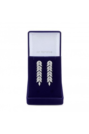 Jon Richard Silver Plated Cubic Zirconia Crystal Navette Leaf Drop Earring - Gift Boxed