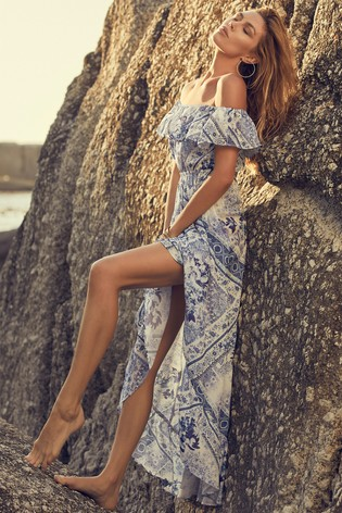 Abbey Clancy x Lipsy Blue Ruffle Bardot Maxi Dress