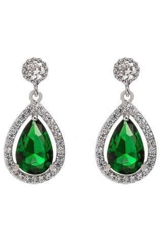 Jon Richard Silver Plated Green Emerald Pear Drop Earring