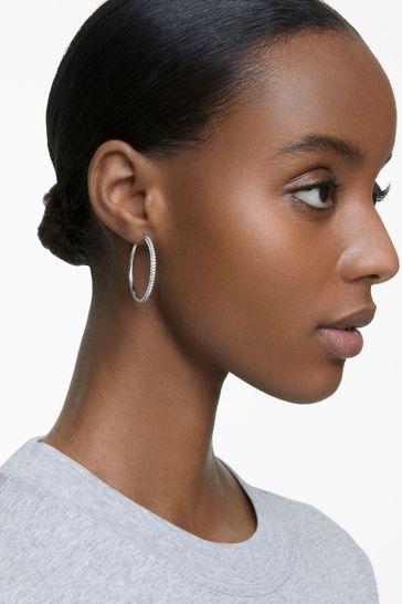 Swarovski® Silver Stone Hoop Pierced Earrings