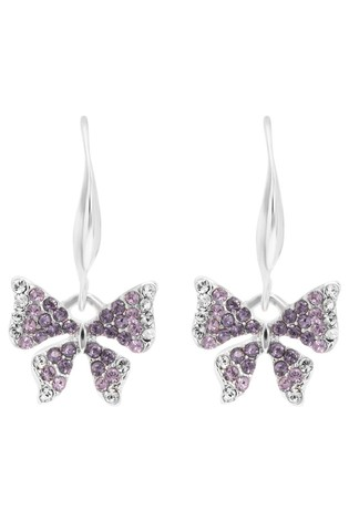 Jon Richard Silver Plated Purple Crystal Ombre Butterfly Drop Earring Made With Swarovski Crystals