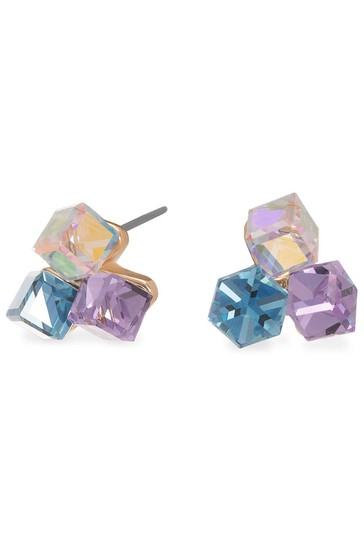 Jon Richard Gold Plated Pink And Blue Crystal Triple Cube Stud Earring