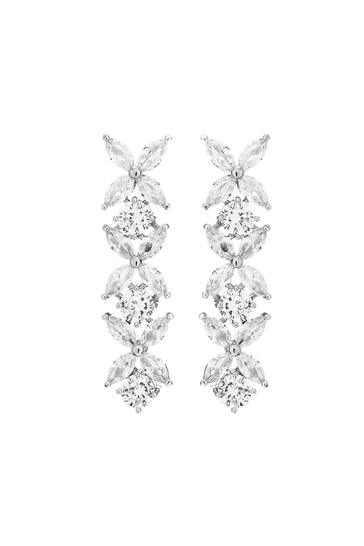 Jon Richard Silver Plated Cubic Zirconia Floral Tennis Drop Earrings