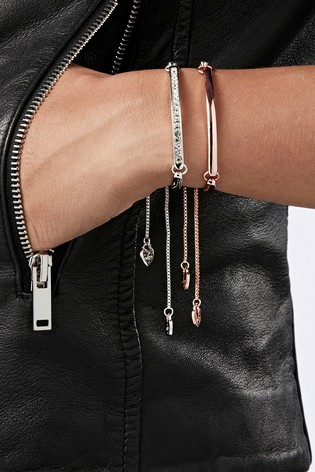 Lipsy Jewellery Silver Pave And Bar Toggle Bracelet - Pack of 2