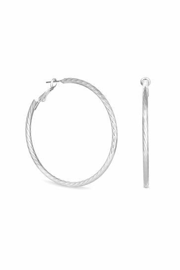 Lipsy Jewellery Silver Diamond Cut Hoop Earrings