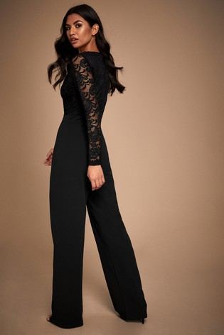 Lipsy Long Sleeve Lace Jumpsuit