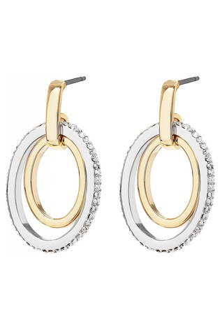 Jon Richard silver Two-Tone Polished And Crystal Double Oval Open Drop Earring