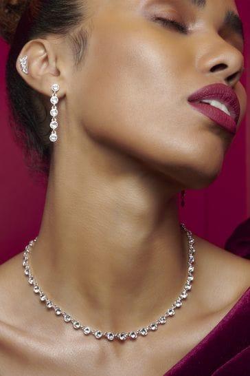Jon Richard Silver Plated Tennis Crystal Necklace