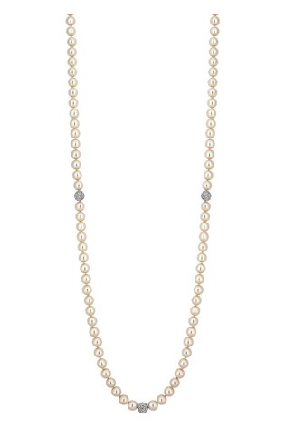 Jon Richard Cream 34 inch Pearl And Station Pave Ball Necklace