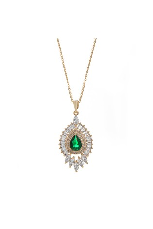 Jon Richard Gold Plated Cubic Zirconia Emerald Green Pendant Drop Necklace - Gift Boxed