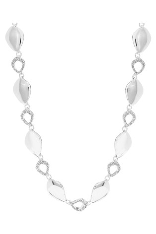 Jon Richard Silver Plated Polished And Pave Open Link Necklace