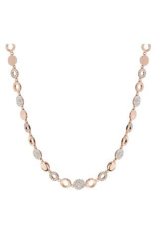 Jon Richard Rose Gold Pave Polished Disc Necklace