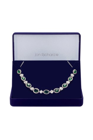 Jon Richard Silver Plated Cubic Zirconia Green Halo Necklace - Gift Boxed
