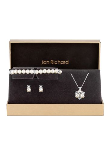 Jon Richard Silver Plated Clear Crystal Pearl And Crystal Cluster Trio Necklace, Bracelet and Earring Matching Set