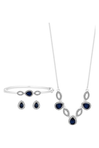 Jon Richard Silver Plated Blue Blue Crystal Pear And Pave Necklace Bracelet and Earring Set