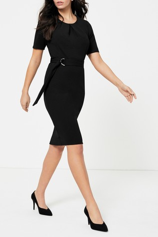 Dorothy Perkins Black Pleated Belted Pencil Dress