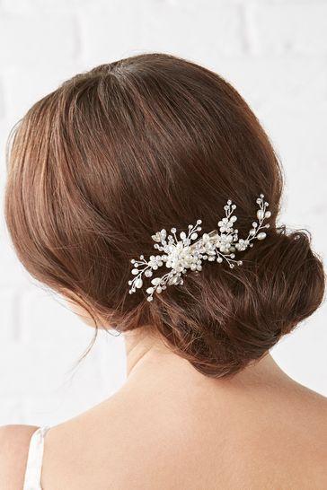 Jon Richard Silver Plated Crystal And Pearl Luna Blossom Handwrap Dog Clip