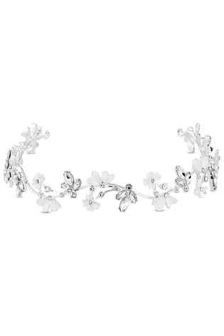 Jon Richard Silver Plated Crystal And Pearl Floral Hair Halo