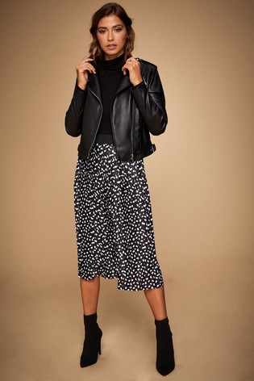 Lipsy Black Abstract Spot Pleated Midi Skirt