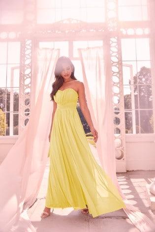 Lipsy Yellow Bella Mesh Multiway Maxi Dress
