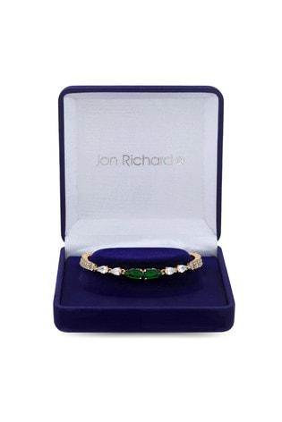 Jon Richard Gold Plated Cubic Zirconia Emerald Green Pear Bracelet - Gift Boxed
