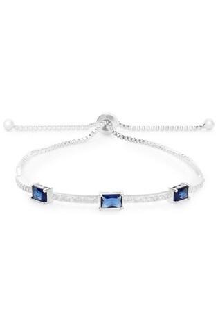 Jon Richard Silver and Blue Crystal Flower Baguette Pave Toggle Bracelet