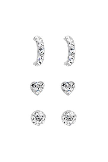 Simply Silver Sterling Silver 925 Crystal Embellished Stud Earring Set