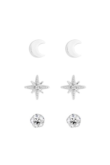 Simply Silver Sterling Silver 925 Clear Cubic Zirconia 3 Pack Star Stud Earrings