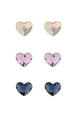 Simply Silver Sterling Silver 925 Multi-Coloured Heart Stud Earrings- Pack Of 3