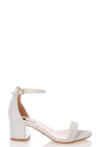 Quiz Wide Fit Shimmer Block Heel Sandals