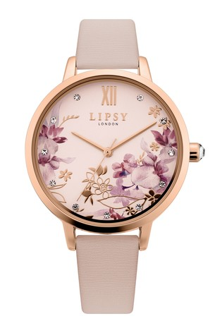 Lipsy Nude Floral Leather Strap Watch