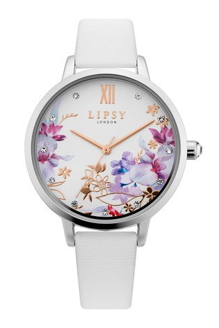 Lipsy White Floral Leather Strap Watch
