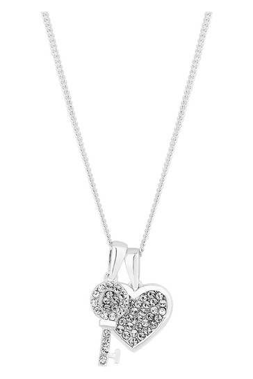 Simply Silver Sterling Silver 925 White Heart Short Pendant Necklace Embellished With Swarovski Crystals