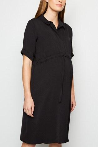 New Look Black Maternity Drawstring Waist Dress